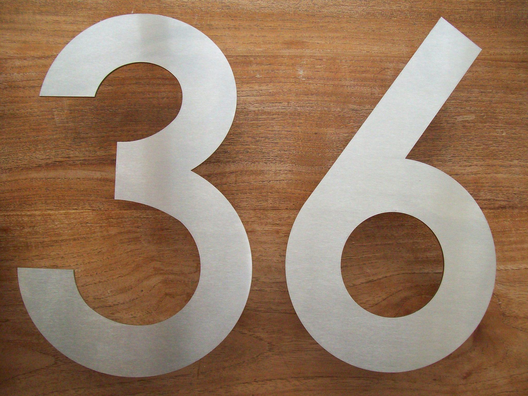 Huisnummer uit losse cijfers rvs316 2mm dik