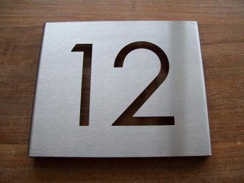 huisnummerbordje voordeur rvs 1mm dik vlak